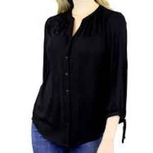 Violet + Claire navy chiffon blouse with cuff ties